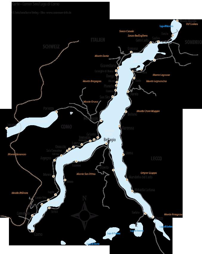 Lago Maggiore Karte Mit Orten.Städte Orte Und Plätze Comer See