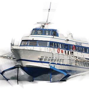 Tragflächenboot am Comer See